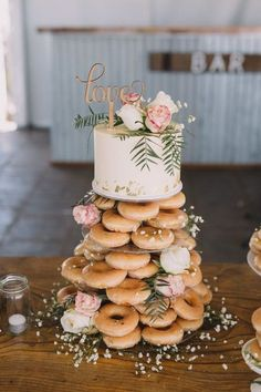Farm at our feet, ocean on the horizon' Couple's coastal rustic wedding Real Weddings is part of Wedding donuts - This coastal rustic wedding was all about the venue an amazing privately owned farm offering both country and coastal views Donut Wedding Cake, Wedding Donuts, Cake For Wedding, Krispy Kreme Wedding Cake, Krispy Kreme Donut Cake, Wedding Cake Recipes, Wedding Cake Simple, Red Velvet Wedding Cake, Different Wedding Cakes