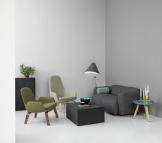 Dusted green and gray tones | Era lounge chairs | Swell two-seater | by Normann Copenhagen