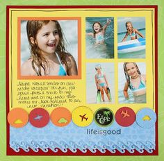 Border Maker-Wave: Life is Good - Cheerful Tropical Scrapbooking Layout