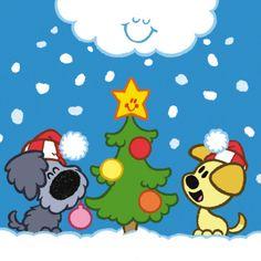 Woezel en Pip bij de kerstboom Christmas Holidays, Merry Christmas, Stone Art, Cool Kids, Cute Animals, Snoopy, Clip Art, Seasons, Creative
