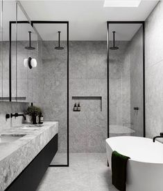 Home Interior Cocina A Narrow Home in Australia Inspired by Belgian French Contemporary Architecture - Design Milk.Home Interior Cocina A Narrow Home in Australia Inspired by Belgian French Contemporary Architecture - Design Milk Bathroom Design Luxury, Home Interior Design, Industrial Bathroom Design, Design Bedroom, Interior Design Toilet, Modern Luxury Bathroom, Minimalist Bathroom Design, Modern Bathtub, Modern Bathroom Tile