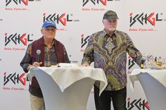 Bruce Johnston and Mike Love of The Beach Boys during a press conference ahead of the The Top of the Mountain Opening Concert on November 28 2015 in...