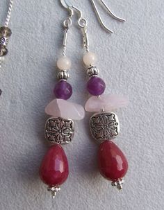 Charming dangle earrings with burgundy red ruby drop by creatodame