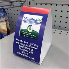 Mucinex Out-of-Stock Shelf Edge Tent Sign and Pick Card Flu Season, Tent, Shelf, Retail, Signs, Cards, Blue, Color, Store