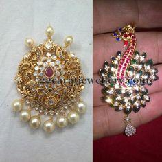 Jewellery Designs: Antique and Peacock Stone Pendants