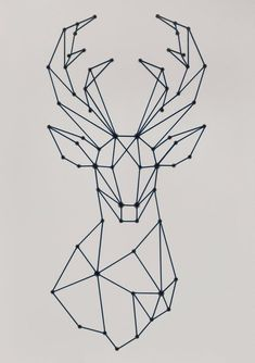 Stag (Dove / Light Grey) by SiFabricate - Geometric stag head design, large artwork made usin. : Stag (Dove / Light Grey) by SiFabricate - Geometric stag head design, large artwork made using shoelaces and eyelets - - Geometric Deer, Geometric Drawing, Geometric Shapes, String Art Templates, String Art Patterns, Hilograma Ideas, String Art Diy, Stag Head, Deer Heads