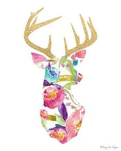 Deer Art Print Watercolor Art Print Digital Art par PennyJaneDesign