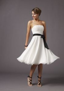 white strapless a line knee length short cocktail dress with black ribbon sash