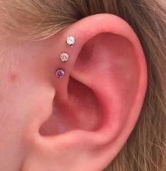 Forward Helix Jewelry, Triple Forward Helix Piercing, Different Ear Piercings, Cool Ear Piercings, Ear Jewelry, Cute Jewelry, Jewellery, Flat Piercing, Anime Soul
