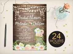 Rustic Bridal Shower Invitation Greenery Leaves Whimsical