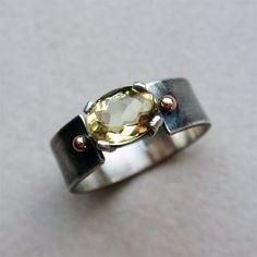 "Кольцо ""Helios"". Гелиодор, серебро, золото. Sterling silver ring with genuine yellow beryl - heliodor - and 14K solid gold accents #silver #silverjewelry #heliodor"