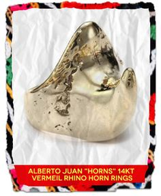 Out of Africa: Alberto Juan Horns 14kt Vermeil Rhino Horn Ring