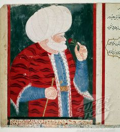 SuperStock - Portrait of Barbaros Hayreddin Pasha (c.1478 _ 1546), Turkish privateer and Ottoman admiral. Turkish miniature, 16th century. Topkapi Sarayi Museum Library, Istanbul, Turkey.