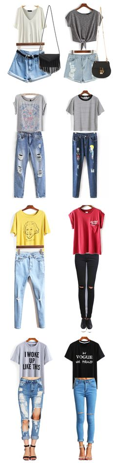 Pretty casual outfit for street walk, travel, school & travel. Cute outfit & casual style outlook for summer. Cheap pretty tee with denim outlook for women. Come to enjoy 60% off 1st order .