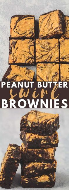 Butter Swirl Brownies - Deliciously thick and chewy chocolate brownies that are topped with a crunchy peanut butter swirl. The perfect brownies for peanut butter lovers! Chocolate Peanut Butter Squares, Peanut Butter Oatmeal Bars, Classic Peanut Butter Cookies, Butter Chocolate Chip Cookies, Peanut Butter Desserts, Köstliche Desserts, Chocolate Brownies, Delicious Desserts, Dessert Recipes