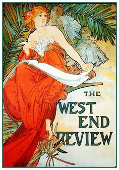 West End Review by Alphonse Mucha Counted Cross Stitch or Counted Needlepoint Pattern