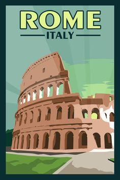 Rome Italy - Vintage Travel Poster littlebluedogdesigns.com #TravelEuropeIllustration