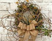 Honeysuckle Fall Wreath for Door, Autumn Wreath, Fall Decor, Silk Floral Wreath, Burlap Wreath, Autumn Decor, Yellow, Front Door Wreath,Etsy