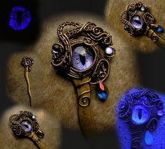 A teardrop slips down the eye of this Lavender eye'd beauty. Haunting droplets match the eye beneath the twisting and swirling bronze wire!A 5 inch wavy bronze hair stick with an elaborate and dreamy eye on top! Done in our Bronze wire, this 14mm slit eye shifts with hints of Lavender, Violet, Purple and Black which shimmers when turned. Two swarovski drops are added to the swirls to add to this haunting piece. Dangling is a Swarovski crystal teardropto add even more to this astounding ...