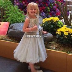 """Navy blue  Sequin Ivory Tulle Flower Girl Dress with navy blue belt"" ---- Princessly.com Customer Photos"
