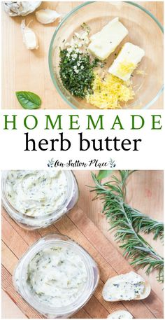 Learn how to make homemade butter using fresh herbs and fruit. It's easy and is the perfect topping for breads, bagels, and biscuits. #butter #homemade  #recipe #recipeoftheday #strawberry #strawberrybutter #herbbutter