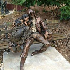 Lundeen, George (b,1948)- Couple Cuddling- 'Departure'- Loveland, CO Library - (Sculpture)