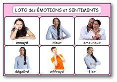 Planche du loto des émotions et sentiments