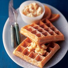 Delicate orange-maple butter tops these crisp golden Belgian waffles--perfect for a weekend breakfast or a special morning breakfast for guests. What's For Breakfast, Breakfast Dishes, Breakfast Recipes, Morning Breakfast, Maple Butter Recipe, Incredible Edibles, Pancakes And Waffles, Waffle Recipes, Perfect Food