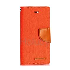Mercury Goospery Canvas Diary Magnetic Flip Stand TPU+PU Leather Case for iPhone 5/ 5S- Orange