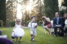 wedding inspiration, ring bearer, flower girl, bow tie, suspenders, white dress, newsboy cap