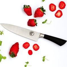 Chef Knife  Kitchen Knife  8 Inch Stainless Steel Edge for Cutting Mincing Slicing Dicing With Gift Recipe Book  Works Best for Home and Restaurant  Food Safe and Multipurpose >>> This is an Amazon Affiliate link. Continue to the product at the image link.