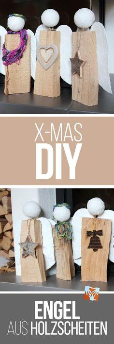 Weihnachtliches DIY: selbstgemachte Engel aus Holzscheit,Geschenkidee