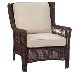 Hampton Bay Park Meadows Brown 5-Piece Wicker Outdoor Patio Conversation Set with Beige Cushions-65-214510 - The Home Depot
