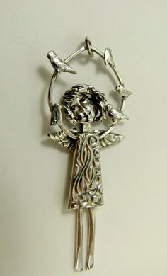 Listen to the birds sing... - Silverware angel pendant