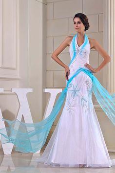 Mermaid Multi-Color Organza Chapel Train Halter Wedding Dress