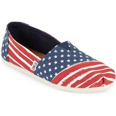 Toms Women's Alpargata Slip-On Shoes (€38) ❤ liked on Polyvore featuring shoes, flats, 4th of july, red white blue, embellished flat shoes, red flat pumps, red white and blue shoes, flat slip on shoes and red flat shoes