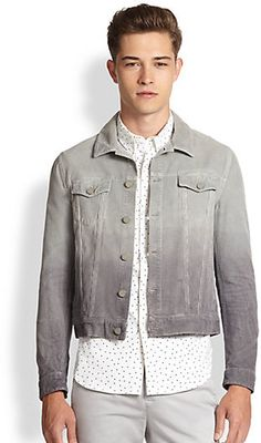 $725, Grey Denim Jacket: Band Of Outsiders Ombr Corduroy Jacket. Sold by Saks Fifth Avenue. Click for more info: http://lookastic.com/men/shop_items/83827/redirect