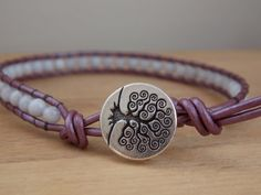 Purple Leather Beaded Bracelet with Genuine 4mm by MalieCreations, $19.00