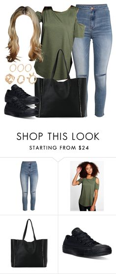 """""""Edgy Hanna Marin inspired outfit with all black Converse sneakers"""" by liarsstyle ❤ liked on Polyvore featuring H&M, Boohoo, Street Level, Converse, school, college and mid"""