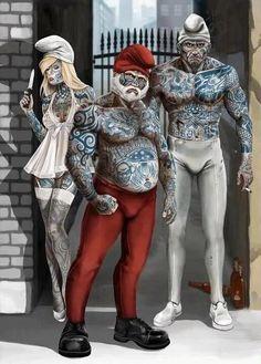 The Smurfs gone gangsta'! Comic Kunst, Comic Art, Cartoon Art, Cartoon Characters, Tattoo Memes, Dark Disney, Inked Magazine, Dark Art, Smurfs