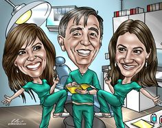 Incorporate the people that are important to them, and the things that make them, well them!  Fully custom caricature from a photo.  #nursegifts #nursegraduationgifts