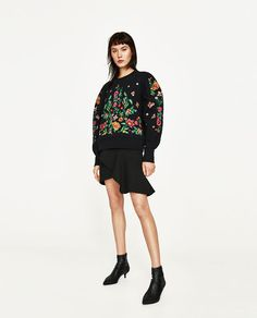 ZARA - WOMAN - EMBROIDERED FLOWER SWEATER