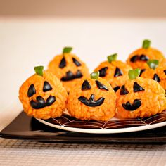 Healthy Halloween Carrot Rice Ball Jack O' Lantern Bites Recipe FoodBlogs.com