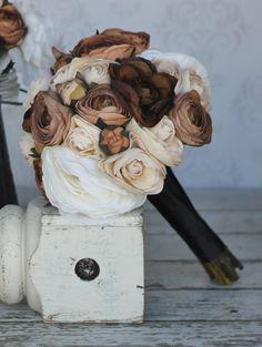 Silk Bride Bouquet Fall Wedding Rustic Chic Decor by braggingbags, $79.99