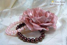 """Купить Брошь из ткани """"Утренняя роса"""" Цветы броши из ткани - кремовый, брошь из ткани"""
