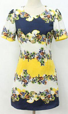 Printed puff waist dress