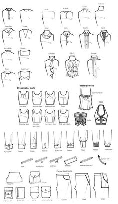 Fashion Drawing reference for writers - akoyam: pleaseinsertcoins: More scans from. - reference for writers – akoyam: pleaseinsertcoins: More scans from… Fashion Terminology, Fashion Terms, Fashion Design Drawings, Fashion Sketches, Drawing Fashion, Fashion Illustrations, Fashion Drawing Tutorial, Clothing Sketches, Art Clothing