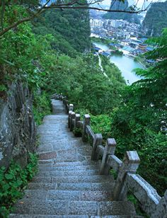 Folded Brocade Hill, just northeast of guilin China Trip, China Travel, Loft Studio, Taiwan Travel, Guilin, Studio Interior, Walk This Way, Stairway, Staircases