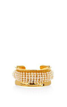 Cheyne Walk 18K Gold-Plated and Pearl Cuff by Aurélie Bidermann Now Available on Moda Operandi