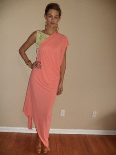 CYBER SALE  handmade eyelet summer  draped coral   long by vjones1, $30.00
